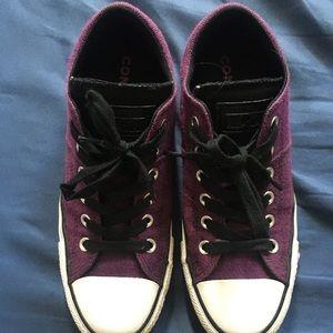 Purple converse shoes